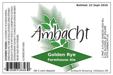 Ambacht Golden Rye Farmhouse Ale label (green)